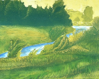 """""""Big Slough"""" - Reduction Relief Print and Watercolor"""