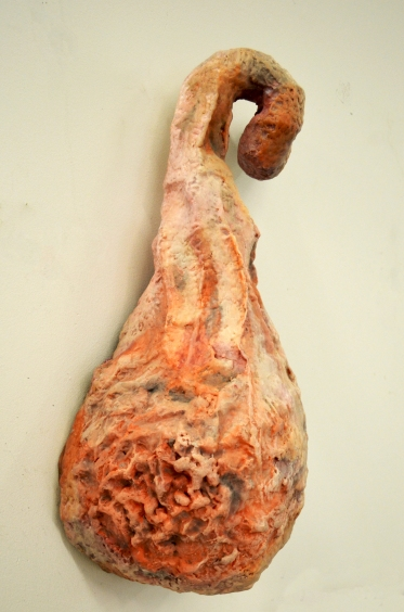 "I Am Made Whole 2, welded armature, paper pulp,wax and gelatin pill capsules.25""x15""x17"""