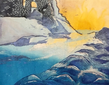 """Dawn on the North"" - Relief Print and Watercolor on Rice Paper"