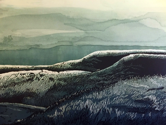 """Flint Hills - Midnight"" Relief Print and Watercolor - $100"
