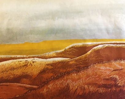 """Flint Hills - Noon"" - Relief Print and Watercolor - $100"