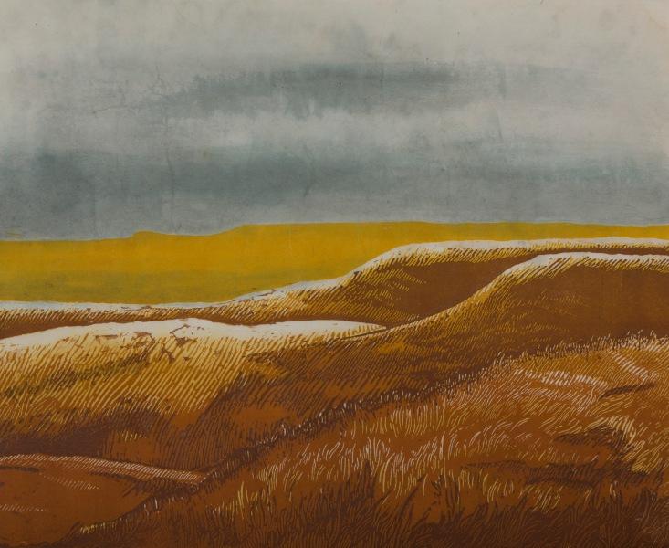 """Flint Hills (Noon) - Relief Print and Watercolor"
